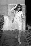 Jackie Kennedy Onassis (Nina Ricci Sunglasses, Gucci Bag) Leaving Crillon Hotel, Paris, 1970 Photo