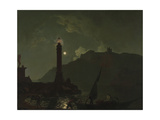 A Moonlight with a Lighthouse, Coast of Tuscany Giclee Print by Joseph Wright