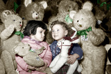 Christmas Toys Department December 3, 1952: Children and Stuffed Animal Colorized Document Photo
