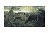 A Land Girl and the Bail Bull Giclee Print by Evelyn Dunbar