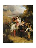 The Escape of Francesco Novello Di Carrara, with His Wife, from the Duke of Milan Giclee Print by John Martin