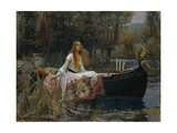 Damen fra Shalott, The Lady of Shalott Giclée-tryk af John William Waterhouse