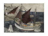 Boat in Harbour, Brittany Giclee Print by Christopher Wood