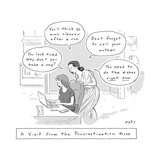 A visit from the procrastination muse -- A Greek muse whispers distracting… - New Yorker Cartoon Premium Giclee Print by Kim Warp