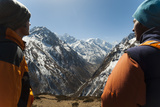 Trekkers Look Out at the Awesome View of Ganesh Himal Mountain Range Photographic Print by Alex Treadway