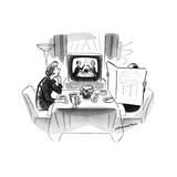 Woman sitting art breakfast table with husband hidden behind newspaper. Sh… - New Yorker Cartoon Premium Giclee Print by Leonard Dove