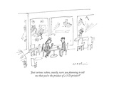 """Just curious: when, exactly, were you planning to tell me that you're the…"" - New Yorker Cartoon Premium Giclee Print by Michael Maslin"