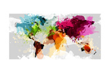 Colourful World Map Giclee Print