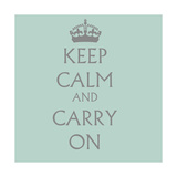 Keep Calm and Carry on Petrol Blue Giclee Print