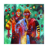 Two Men Dancing in the Same Trousers Giclee Print by Susse Volander