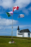 Flag Pole in Front of a Church in Flower Cove, Newfoundland, Canada, North America Photographic Print by Michael Runkel