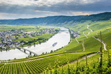 Cruise Ship Passing the Riverbend at Minnheim, Moselle Valley, Rhineland-Palatinate, Germany Photographic Print by Michael Runkel