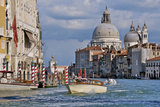 Taxi and Boat on Grand Canal with Palace Facades and Salute Church Domes Photographic Print by Guy Thouvenin