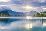Lake Bled at Sunrise with the Church on Lake Bled Island and Bled Castle Photographic Print by Matthew Williams-Ellis