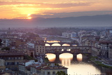 Sunset View over Florence and the Ponte Vecchio from Piazza Michelangelo Photographic Print by Stuart Black