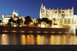 Cathedral of Santa Maria of Palma (La Seu) and Almudaina Palace at Parc De La Mar at Night Photographic Print by Markus Lange