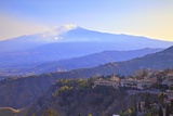 View from Greek Theatre to Taormina with Mount Etna in Background, Taormina, Sicily, Italy, Europe Photographic Print by Neil Farrin