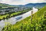 Cruise Ship Passing a Vineyard at Muehlheim, Moselle Valley, Rhineland-Palatinate, Germany, Europe Lámina fotográfica por Michael Runkel