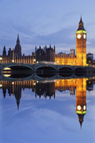 Big Ben and the Houses of Parliamentand Westminster Bridge Reflected in the River Thames Photographic Print by Markus Lange