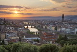 Sunset View over Florence with the Ponte Vecchio and Palazzo Vecchio from Piazza Michelangelo Photographic Print by Stuart Black