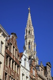 Town Hall Spire, Grand Place, UNESCO World Heritage Site, Brussels, Belgium, Europe Photographic Print by Neil Farrin
