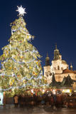 Old Town Square Christmas Market with Christmas Tree Photographic Print by Richard Nebesky