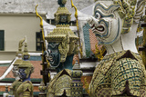 Statues at the Temple of the Emerald Buddha (Wat Phra Kaew) Photographic Print by John Woodworth