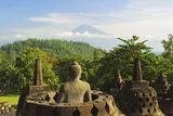 Borobodurwith Mount Merapi in the Distance, Kedu Plain, Java, Indonesia Photographic Print by Jochen Schlenker