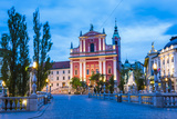 Ljubljana at Night. Franciscan Church of the Annunciation Seen from the Triple Bridge (Tromostovje) Photographic Print by Matthew Williams-Ellis
