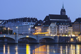 Mittlere Rheinbrucke Bridge and Martinskirche Church Photographic Print by Markus Lange