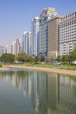 City Center Buildings Reflecting in Corniche Lake, Abu Dhabi, United Arab Emirates, Middle East Photographic Print by Jane Sweeney