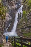 Tourist at Savica Waterfall Near Lake Bohinj, Triglav National Park, Julian Alps, Slovenia, Europe Photographic Print by Matthew Williams-Ellis