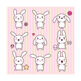Collection of Funny and Cute Happy Kawaii Rabbits. Prints by  incomible