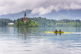 Canoeists on Lake Bled, Julian Alps, Gorenjska, Slovenia, Europe Photographic Print by Matthew Williams-Ellis