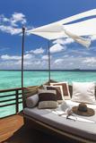 Sofa Overlooking Ocean, Maldives, Indian Ocean, Asia Photographic Print by Sakis Papadopoulos