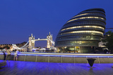 City Hall and Tower Bridge at Night, London, England, United Kingdom, Europe Photographic Print by Markus Lange