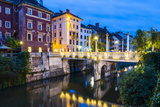 Bridge over the Ljubljanica River at Night, Ljubljana, Slovenia, Europe Photographic Print by Matthew Williams-Ellis