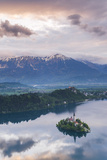 Lake Bled Island and the Julian Alps at Sunrise Photographic Print by Matthew Williams-Ellis