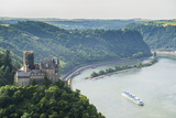 Castle Katz and the Lorelei Above the River Rhine, St. Goarshausen, Rhine Gorgegermany, Europe Photographic Print by Michael Runkel
