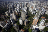 View over Sao Paulo Skyscrapers and Traffic Jam from Taxi Helicopter Photographic Print by Olivier Goujon