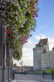 Hanging Flowers in Windsor High Street with Windsor Castle in the Background Photographic Print by Charlie Harding