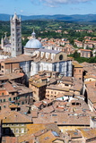 View of Duomo from Torre Del Mangia, Piazza Del Camposiena, Tuscany, Italy, Europe Photographic Print by Peter Groenendijk
