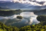 Lake Bled Reflections at Sunrise, Julian Alps, Gorenjska, Slovenia, Europe Photographic Print by Matthew Williams-Ellis