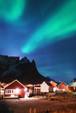 Aurora Borealis (Northern Lights), Reine, Moskenesoy, Lofoten Islands, Norway, Scandinavia, Europe Photographic Print by Christian Kober