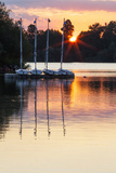 Boats by a Pontoon During Sunset at Bray Lake, Berkshire, England, United Kingdom, Europe Photographic Print by Charlie Harding