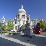 St. Paul's Cathedral, and Red Double Decker Bus, London, England, United Kingdom, Europe Photographic Print by Markus Lange