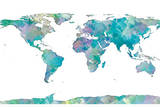 World Map Watercolor Plakat