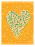 Geometric Heart In Yellow Posters by Paula Mills