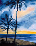 Blue Tropic Nights I Art by Linda Baliko