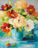 Flowers in Teal Vase Art by Lanie Loreth